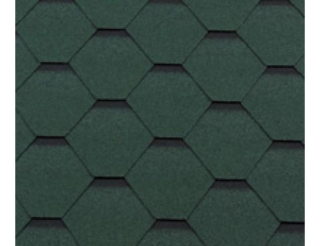 Гибкая черепица Roofshield Classic Standart, зеленый с оттенением
