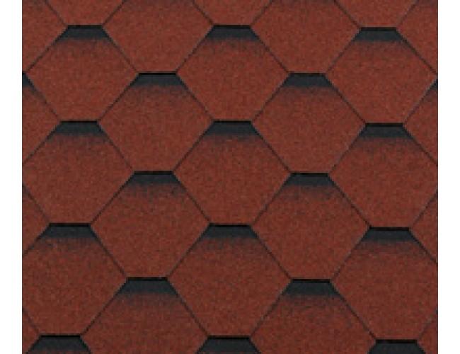 Гибкая черепица Roofshield Classic Standart, красный с оттенением
